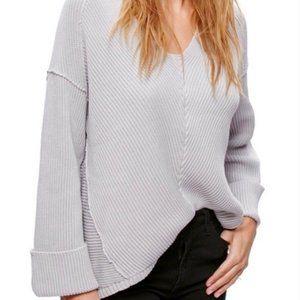 Free People La Brea V Neck Oversized Gray Sweater